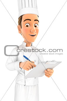 3d head chef writing on notepad