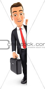 3d businessman with suitcase behind blank wall