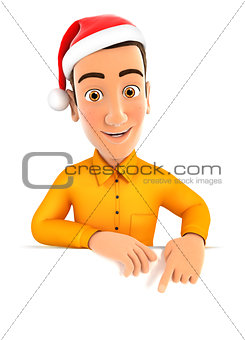 3d man with christmas hat