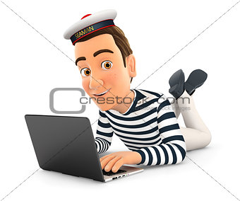 3d seaman lying on the floor and using laptop