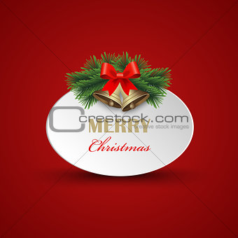 Christmas card with signs and bells on red background