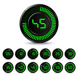 Digital black green timer with five minutes interval