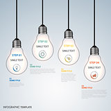 Info graphic with hanging design bulbs template