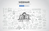 Webinar concept with Business Doodle design style: online format