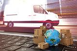 On line shipment. 3D Rendering