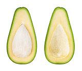Half of avocado isolated