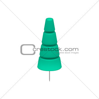 Cyan push pin in shape of tree