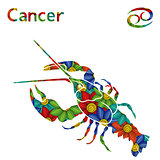 Zodiac sign Cancer with stylized flowers