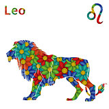 Zodiac sign Leo with stylized flowers