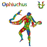 Alternative Zodiac sign Ophiuchus with stylized flowers