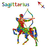 Zodiac sign Sagittarius with stylized flowers