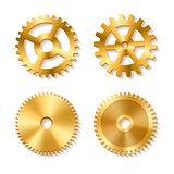 Set of realistic golden gears