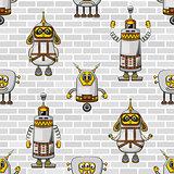 Cartoon Robots Seamless