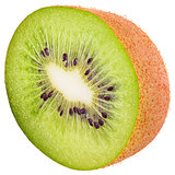 Isolated half kiwi on white background with clipping path