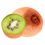 Isolated one whole and half kiwi on white background with clippi