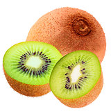 Isolated one whole and two half kiwi on white background with cl
