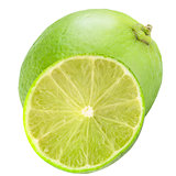 Isolated whole lime and half on white background