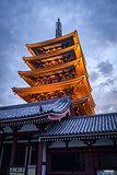 Pagoda at sunset in Senso-ji temple, Tokyo, Japan