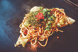 Yakisoba teppanyaki, japanese traditional hot plate food