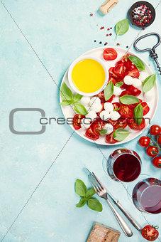 Italian antipasti snack for wine. Caprese salad