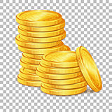 Stack of Gold Coins on transparent background