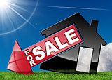 House Symbol For Sale on Green Grass