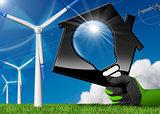 Wind Energy - House with a Light Bulb