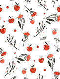 Hand drawn vector abstract greeting cartoon autumn graphic decoration seamless pattern with berries,leaves,branches and apple harvest isolated on white background