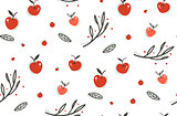 Hand drawn vector abstract greeting cartoon autumn graphic decoration seamless pattern with berries,leaves,branches and apple harvest isolated on white background.