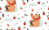 Hand drawn vector abstract greeting cartoon autumn illustration seamless pattern with cute cat character collected apple harvest with berries,leaves and branches isolated on white background.