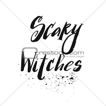 Old black hat. Lettering The best Witch. Design element for Halloween.