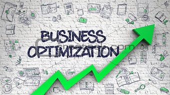 Business Optimization Drawn on White Brickwall.