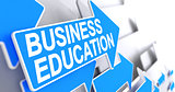 Business Education - Label on Blue Pointer. 3D.