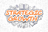 Strategic Growth - Cartoon Orange Word.
