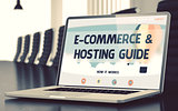 E-Commerce and Hosting Guide on Laptop. 3D.