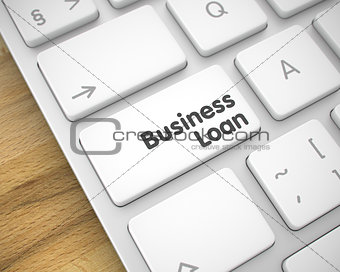 Business Loan on the White Keyboard Key. 3D.