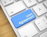 Loan Agreement on the Blue Keyboard Keypad. 3D.