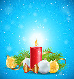 Christmas greeting card with red candle