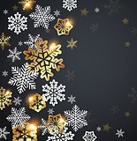Snowflakes on a black background.