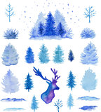Vector watercolor Christmas design elements