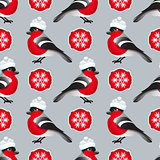 Vector winter seamless pattern. Include bullfinch, hat.
