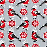 Vector winter seamless pattern. Include bullfinch, hat.