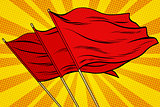 Red flag pop art background