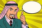 thumbs up, Arab businessman do like