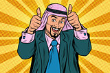 Two thumbs up, Emotional Arabic joyful businessman