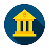 Bitcoin Building Circle Icon