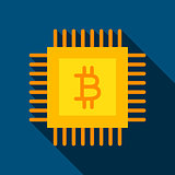 Bitcoin Chip Flat Icon