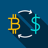 Bitcoin Dollar Flat Icon