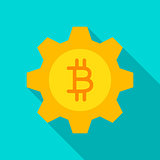 Bitcoin Gear Flat Icon