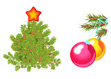 Fir tree decorated with star and green spruce branch with toy balls. Isolated on white vector illustration.